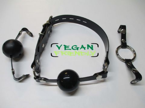 Vegan Friendly or Leather  Changeable Front Lockable Silicone Ball/Breathable Ball/Ring Gag